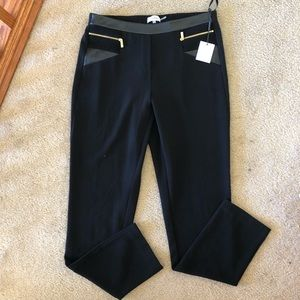 NWT Calvin Klein Collection Faux Leather Trim Pant